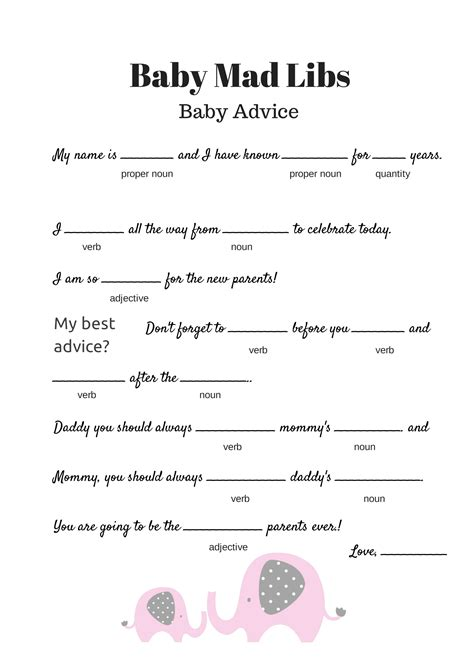 FREE Baby Mad Libs Game - Baby Advice - Baby Shower Ideas