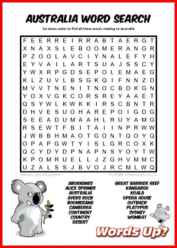 Words Up? Australia Word Search
