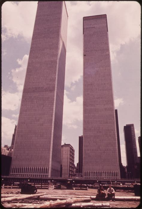 Towers of the World Trade Center in Lower Manhattan Seen F